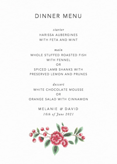 Chinese Pink Florals | Personalised Menu