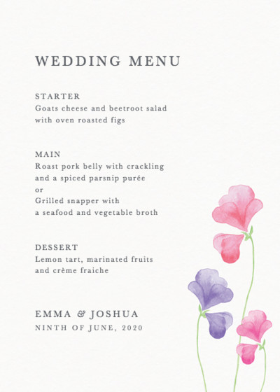 Pink Sweet Peas | Personalised Menu