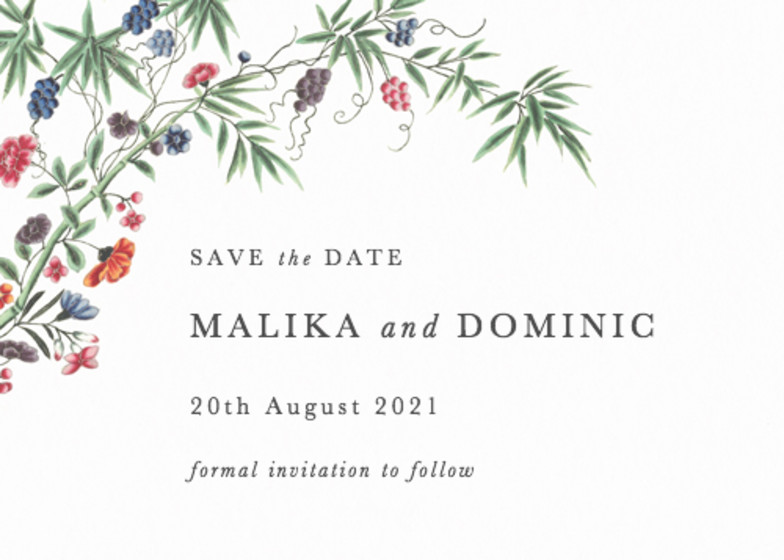 Chinese Bamboo | Personalised Save The Date