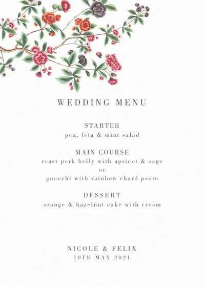 Chinese Floral Branches | Personalised Menu