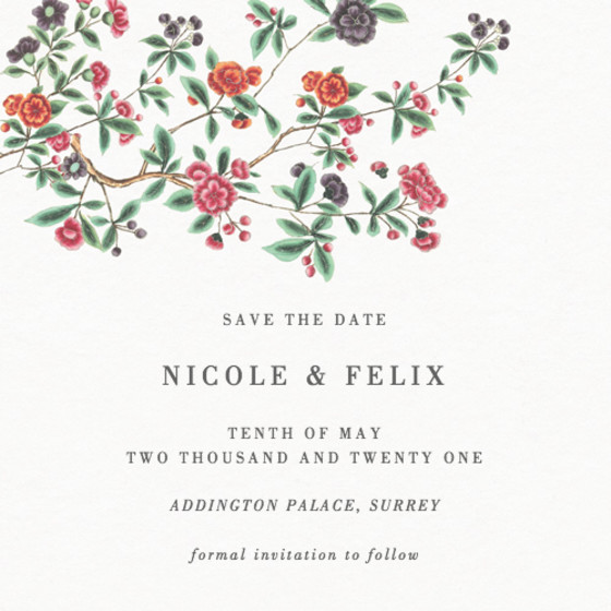 Chinese Floral Branches | Personalised Save The Date