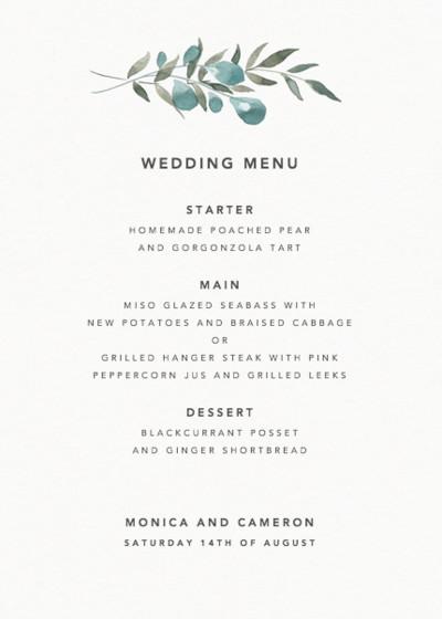 Greenery | Personalised Menu