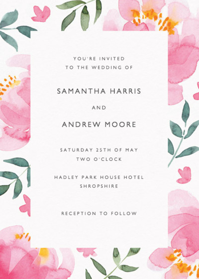 Peony   Personalised Wedding Invitation