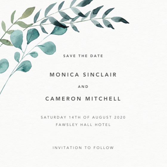 Greenery   Personalised Save The Date