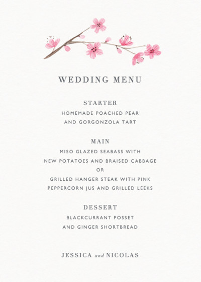 Blossom | Personalised Menu
