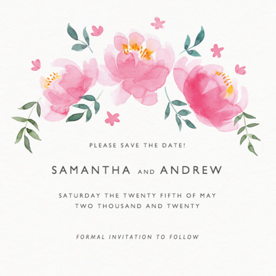 Peony Bloom | Personalised Save The Date
