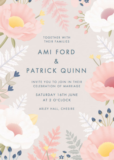Poppies And Ferns | Personalised Wedding Invitation