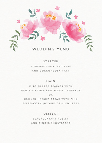 Peony Bloom | Personalised Menu