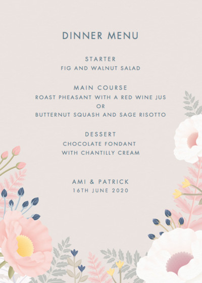 Poppies And Ferns | Personalised Menu