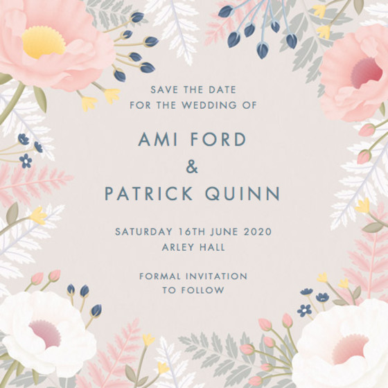 Poppies And Ferns | Personalised Save The Date