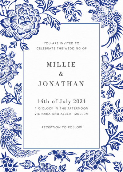 Chinese Blue Florals | Personalised Wedding Invitation