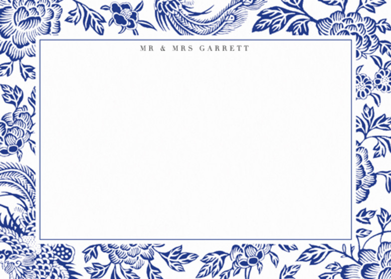 Chinese Blue Florals | Personalised Stationery Set