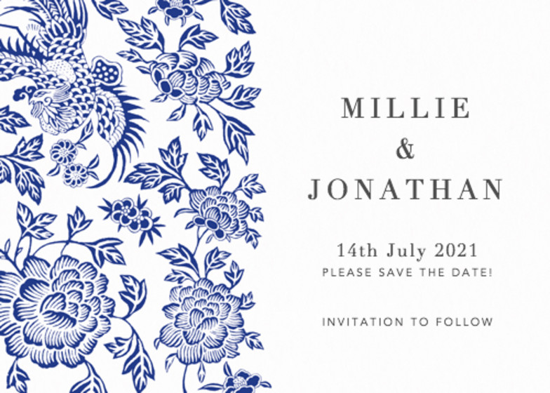 Chinese Blue Florals | Personalised Save The Date
