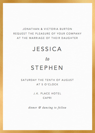 Metallic Gold Border | Personalised Foiled Wedding Invitation