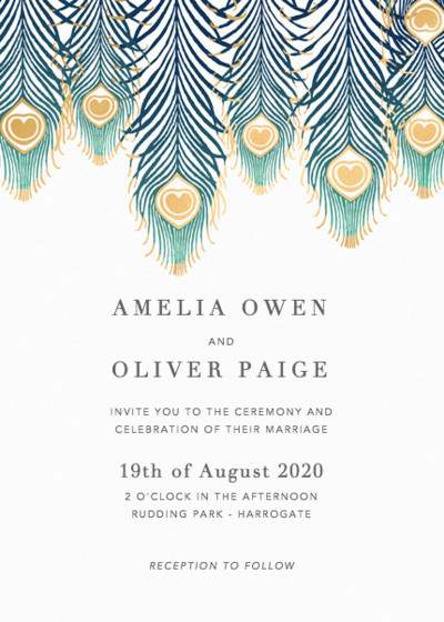 Peacock Feathers Ombré | Personalised Foiled Wedding Invitation