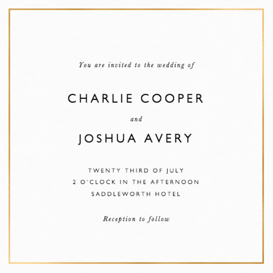 Metallic Gold Border | Personalised Foiled Wedding Invitation