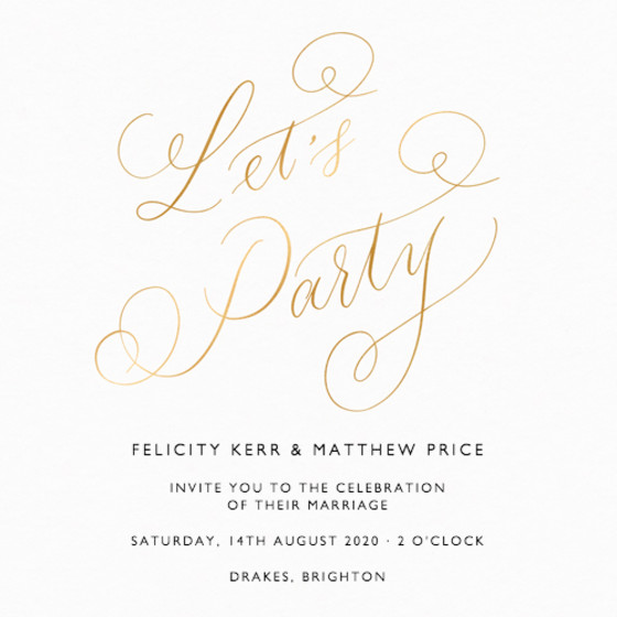 Let's Party Metallic Gold | Personalised Foiled Wedding Invitation