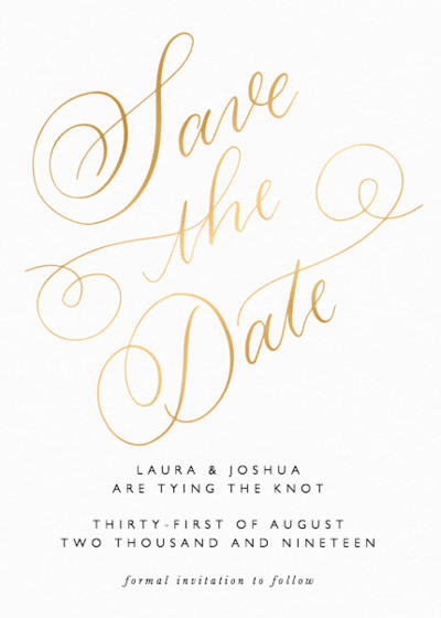 Classic Calligraphy Metallic Gold | Personalised Foiled Save The Date