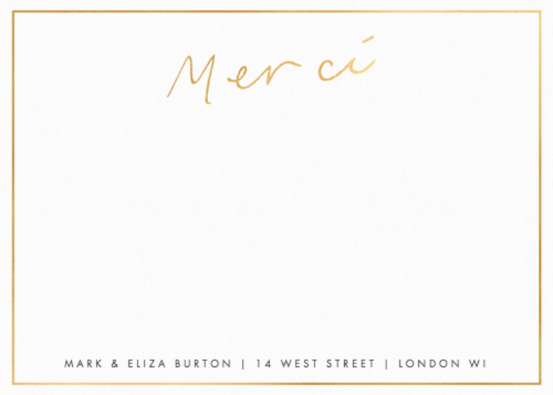 Metallic Gold Merci | Personalised Foiled Stationery Set