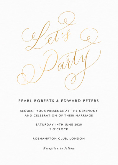Let's Party Calligraphy | Personalised Foiled Wedding Invitation