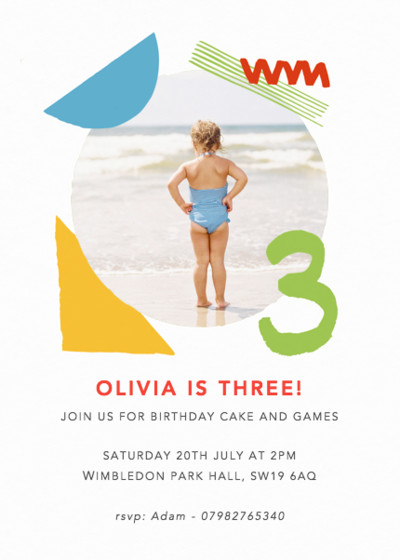 Shapes & Colours Three | Personalised Party Invitation