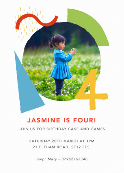 Shapes & Colours Four | Personalised Party Invitation