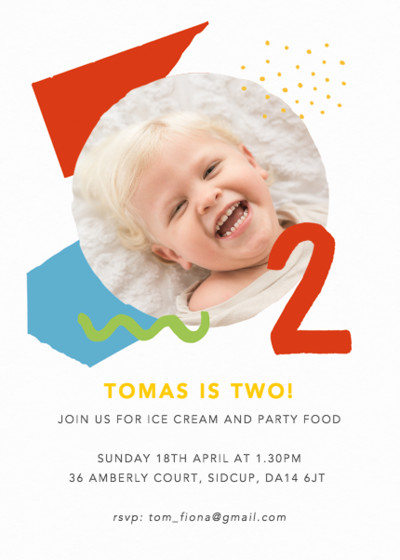 Shapes & Colours Two | Personalised Party Invitation