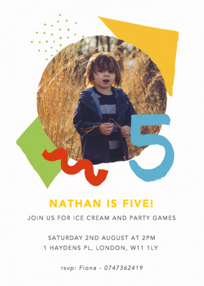 Shapes & Colours Five | Personalised Party Invitation