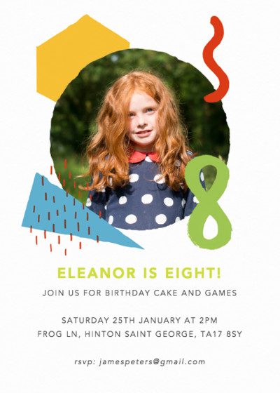 Shapes & Colours Eight | Personalised Party Invitation