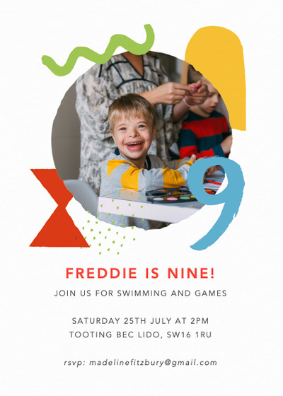 Shapes & Colours Nine | Personalised Party Invitation
