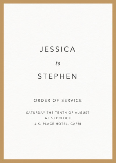 Gold Border | Personalised Order Of Service