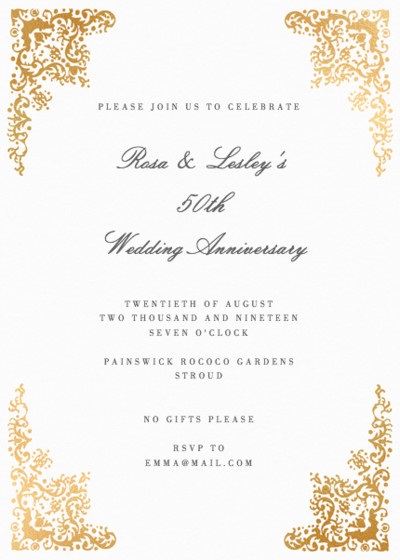 Rococo | Personalised Foiled Party Invitation