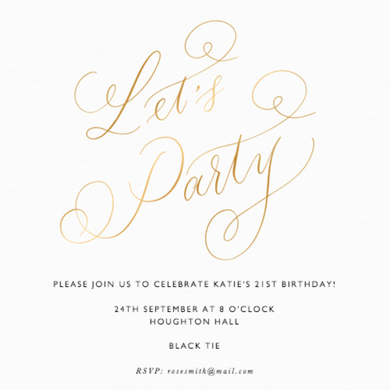 Let's Party Metallic Gold | Personalised Foiled Party Invitation