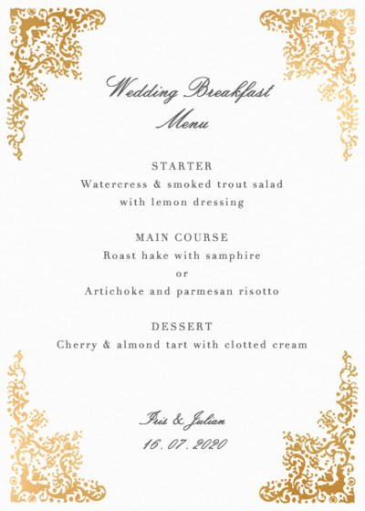 Rococo | Personalised Foiled Menu