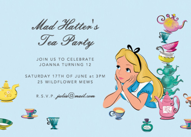 Alice's Tea Party | Personalised Party Invitation