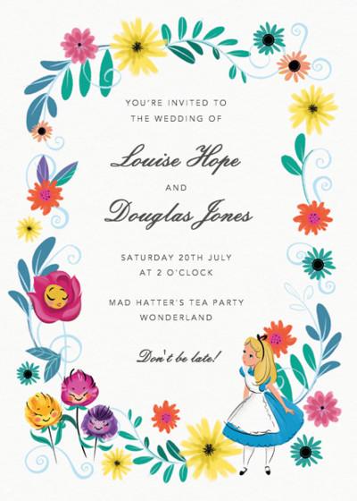 Alice In Wonderland   Personalised Wedding Invitation