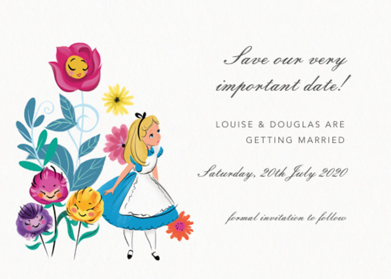 Alice In Wonderland | Personalised Save The Date