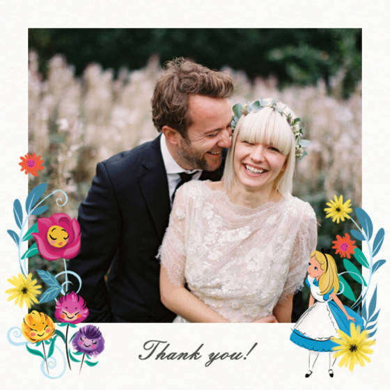Alice In Wonderland   Personalised Thank You Card Set
