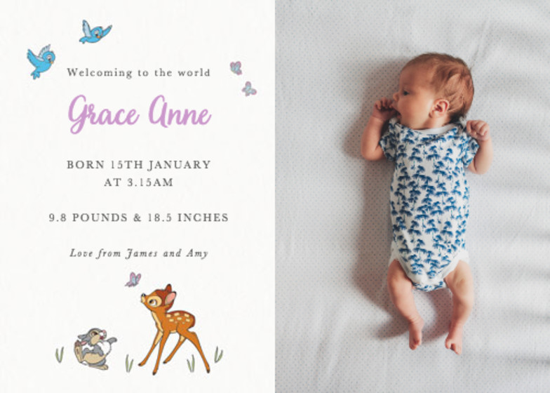 Butterfly Bambi | Personalised Birth Announcement