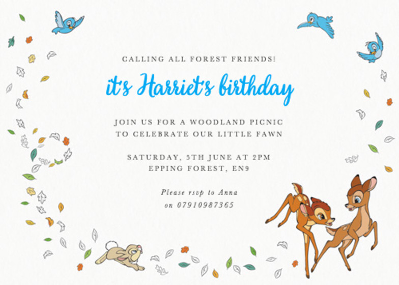 Bambi & Forest Friends | Personalised Party Invitation