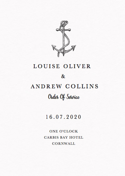 Set Sail | Personalised Order Of Service
