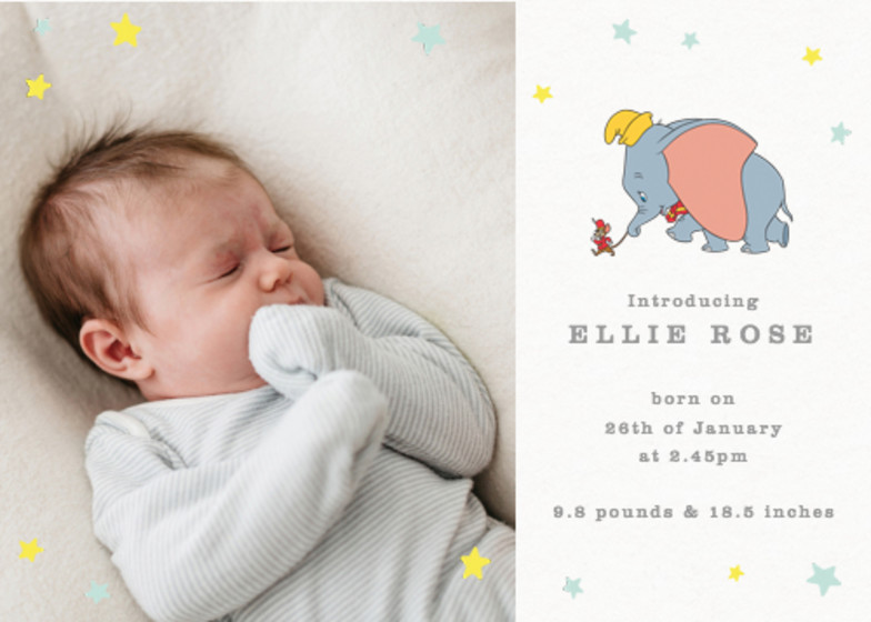 Dumbo & Timothy Q. Mouse | Personalised Birth Announcement