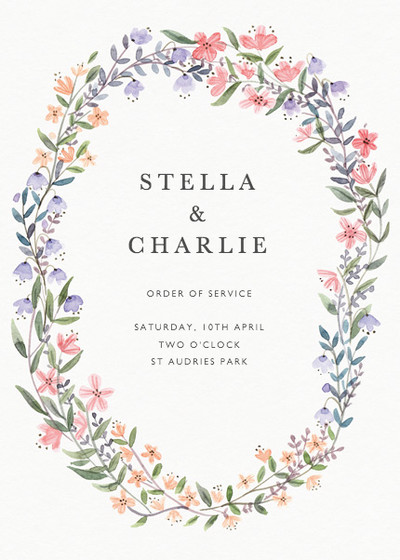 Spring Wildflowers | Personalised Order Of Service