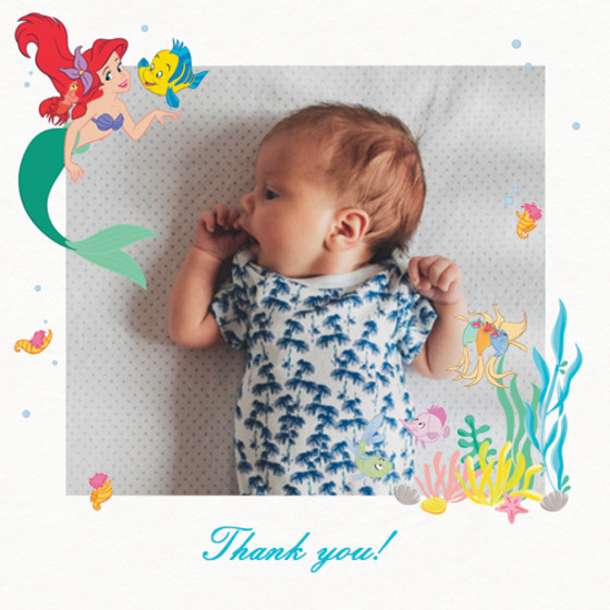 Ariel & Friends   Personalised Thank You Card Set