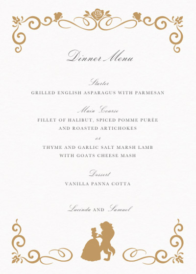Beauty & The Beast Gold | Personalised Menu