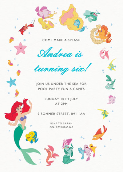 Ariel & Friends | Personalised Party Invitation