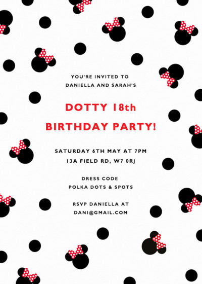 Polka Dot Minnie Mouse | Personalised Party Invitation
