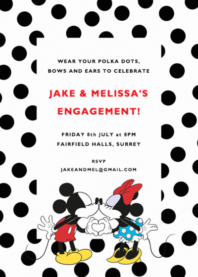 Dotty Mickey & Minnie Mouse | Personalised Party Invitation