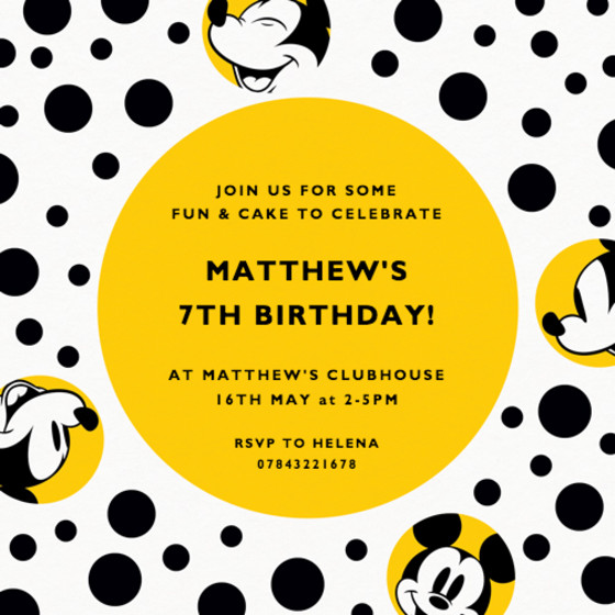 Mickey Mouse | Personalised Party Invitation