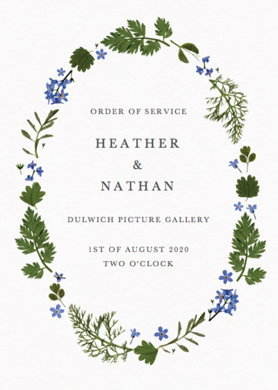 Blue Meadow | Personalised Order Of Service